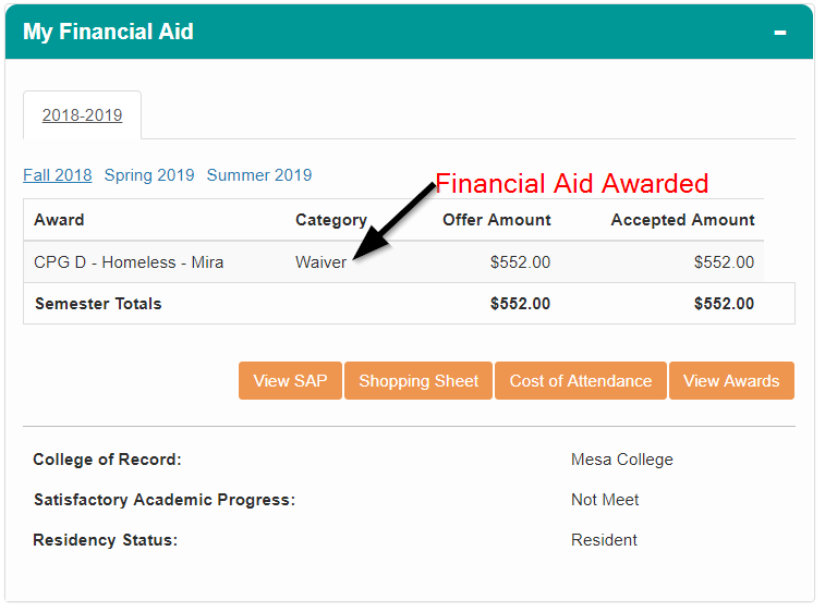 Financial Aid Pagelet Screenshot