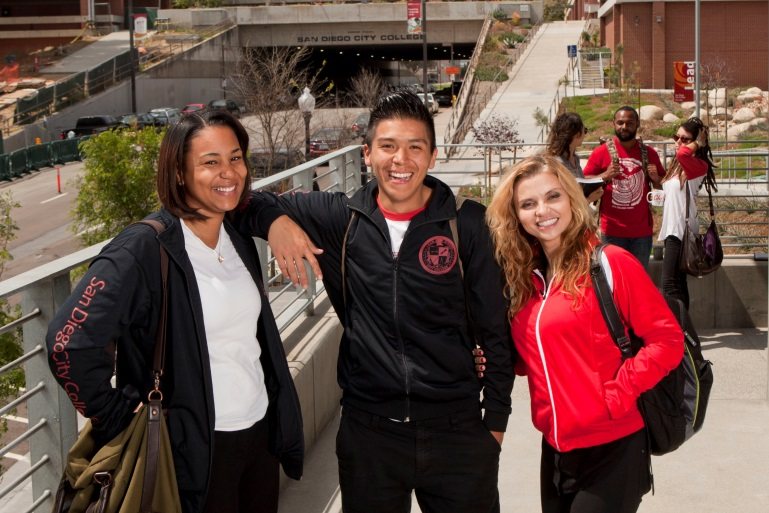 three city college students on campus