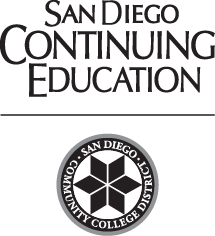 San Diego Continuing Education name with black district seal below