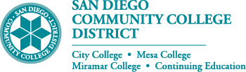 Color district seal with district name and colleges to the right