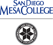 Mesa College name with black district seal below