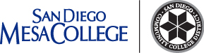 Mesa College name with black district seal to the right