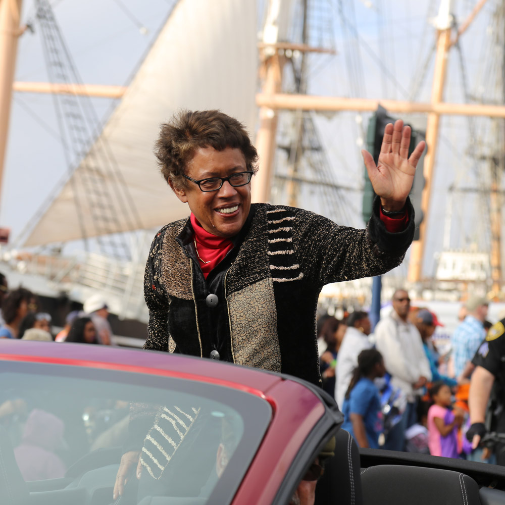 Chancellor Constance Carroll waves at the 2016 Marting Luther King Jr. parade