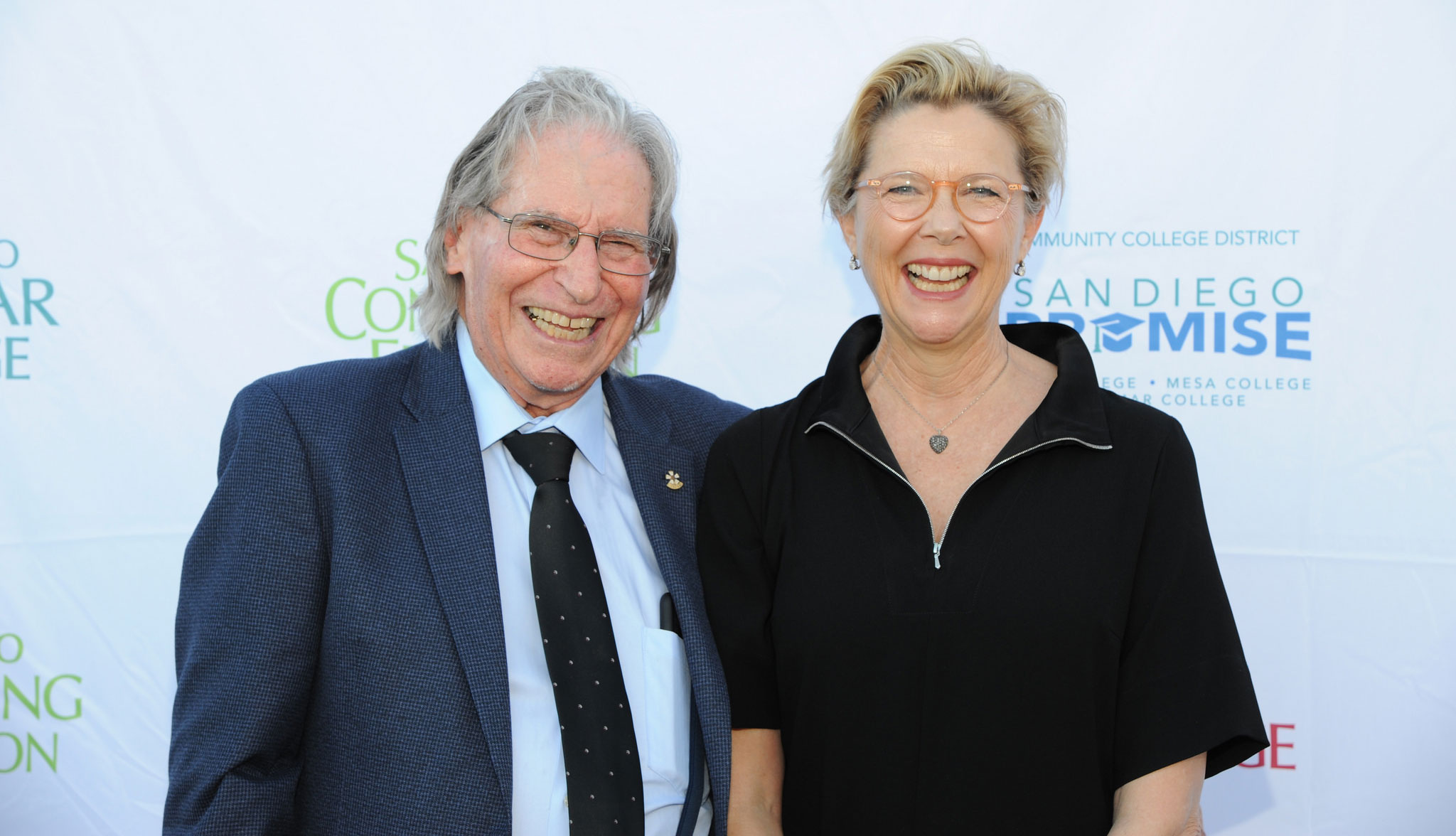 Annette Bening with her former theater instructor
