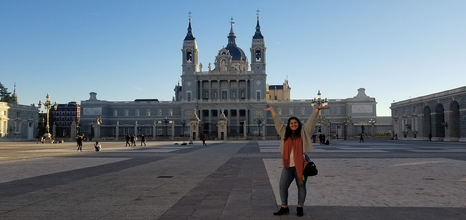 Madelaine Hernandez Levin outside Royal Palace of Madrid