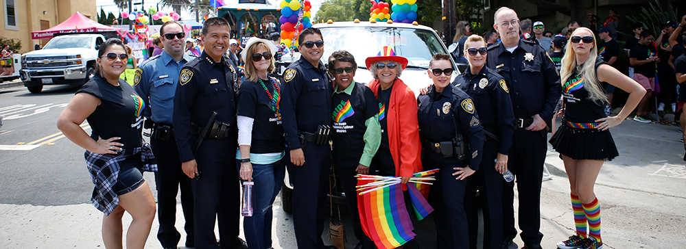 Police officers with the chancellor at the 2017 pride parade